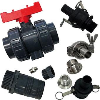 Válvulas, accesorios y conexiones en PP, PVC, Acero inoxidable