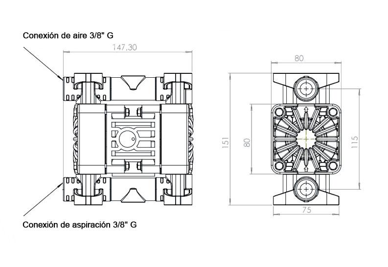 Dimensiones Bomba de JP-800.17